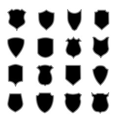 set shield shapes badge crest and icon vector image