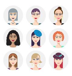 set various women faces avatars vector image