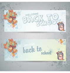 set with two horizontal banners with a school vector image