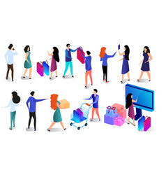 shopping people set isolated on white background vector image