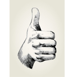 Sketch of a thumb up vector