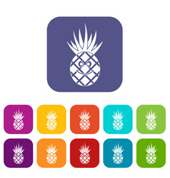 Smiling pineapple icons set flat vector