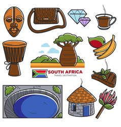 South africa travel tourism landmarks and african vector
