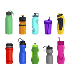 sport bottles set to hold water liquids vector image