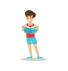 Sportive boy who loves to read vector