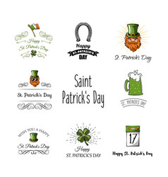 st patricks day labels set vector image