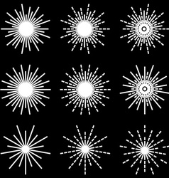 Starbursts black white symbols vector