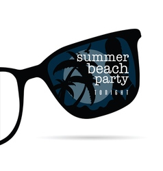 sunglasses with summer beach party and girl on it vector image