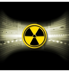 Tech background with radioactive symbol vector