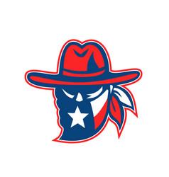 texan outlaw texas flag mascot vector image