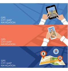Three banners with GPS vector