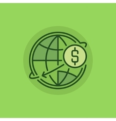 Transfer money green icon vector image