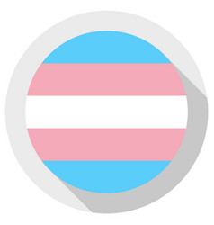 Transgender pride flag round shape icon on white vector