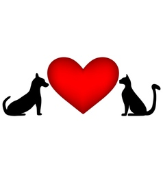 Veterinary symbol with a picture a cat and dog vector
