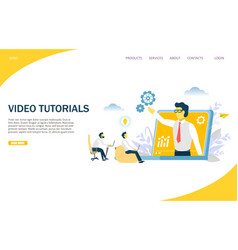video tutorials website landing page design vector image