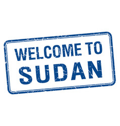 Welcome to sudan blue grunge square stamp vector