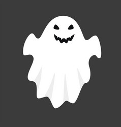 white ghost isolated on black background vector image