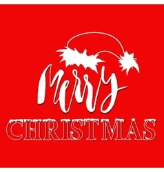 White hand drawn grunge lettering and christmas vector image