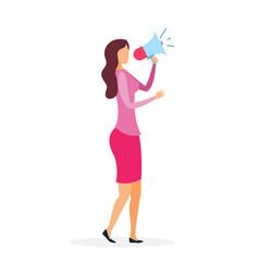 Woman with loudspeaker flat vector