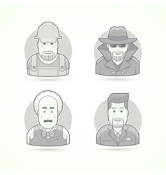 Worker spy musician and suit man icons Avatar vector image