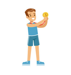 Young smiling boy with a third place medal kid vector