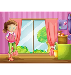 A girl inside the house with her toys vector image vector image