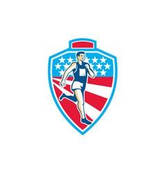 American marathon runner running shield retro vector