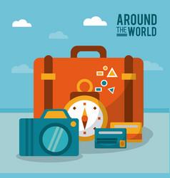 around the world suitcase photo camera clock vector image