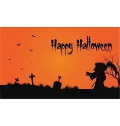 Bakcgrounds warlock and bat in tomb halloween vector