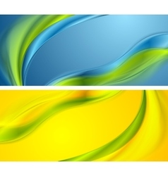 Bright smooth waves banners design vector image vector image