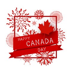canada day design of flag and firework vector image vector image