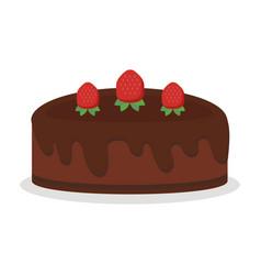 chocolate cream birthday cake pie isolated vector image