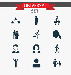 people icons set collection of happy vector image vector image