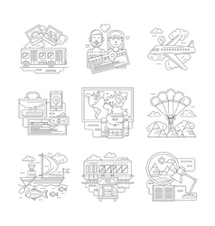 Set of travels detailed line icons vector image