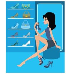 shop of female footwear vector image vector image