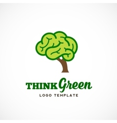 Think Green Abstract Eco Logo Template vector image