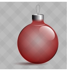 Transparent Christmas ball Glass tree Toy Red vector image vector image