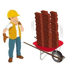 construction worker wheelbarrow vector image vector image