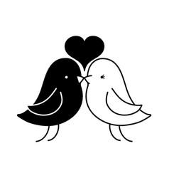 contour bird dove lover with heart design vector image