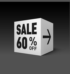 Cube banner template for holiday sale event sixty vector