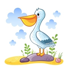 Cute cartoon Pelican vector image vector image