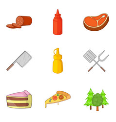 cutting food icons set cartoon style vector image
