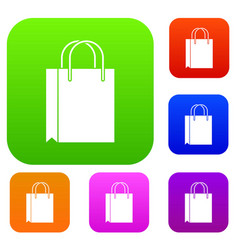shopping bag set collection vector image