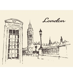 Streets in London England Bus Big Ben drawn vector image