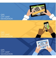 Three banners with GPS vector image
