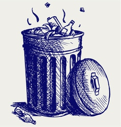 Trash bin full of garbage vector image vector image
