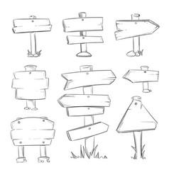 cartoon doodle road wooden signs set vector image