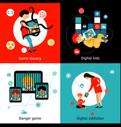 children internet addiction 4 flat icons vector image vector image