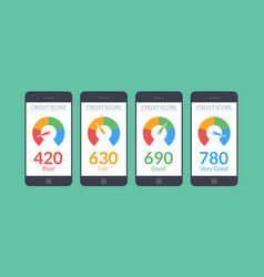 collection smartphones with credit score app on vector image vector image