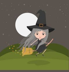 cute witch fantastic character flying with broom vector image